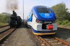 Train and train Stock Photo