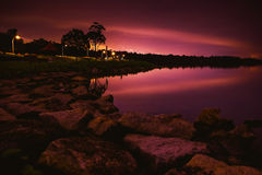 Tranquil night by the reservoir Royalty Free Stock Image