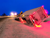 Transport Truck in Winter Ditch Evening Royalty Free Stock Image