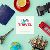 Travel concept mock up design. Objects related to travel and tourism around blank paper. View from above Royalty Free Stock Photos