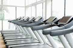Treadmills in gym Stock Photos