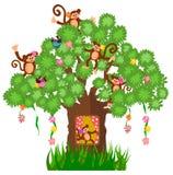 Tree house and monkey Stock Photography