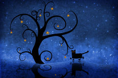 Tree at night with stars and a cat Stock Images