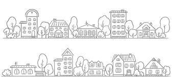 Trees and houses in a row for your frame Royalty Free Stock Images