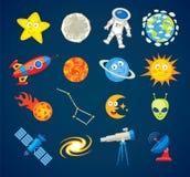 Trendy astronomy icons. Funny cartoon character Stock Photography