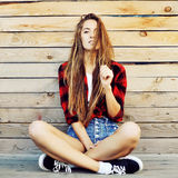Trendy hipster girl outdoor portrait Stock Image