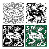 Tribal dragons with twined bodies celtic pattern Stock Photography