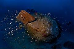 Trimix divers explore deep wreck Colona IV on 65 m Royalty Free Stock Photo