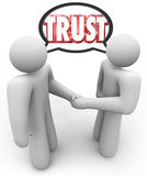 Trust Word Two People Handshake Speech Bubble Stock Photos