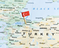 Turkey map and flagpin Royalty Free Stock Images