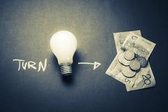 Turn idea to money Stock Images