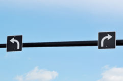 Turn left and right traffic sign Royalty Free Stock Photo