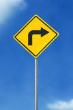 Turn right road sign Stock Photo