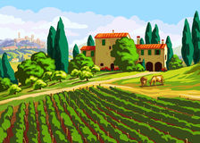 Tuscan landscape with Villa Royalty Free Stock Image