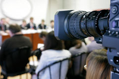 TV at press conference. Stock Photo