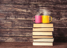 Two cups and books Royalty Free Stock Photography