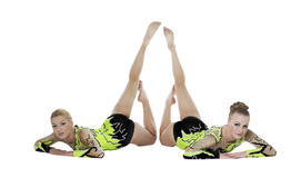 Two high skill gymnasts beauty portrait isolated Stock Photo