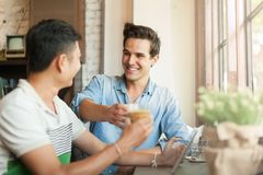 Two Men Cheers Toast Drink Friends Guys Happy Royalty Free Stock Image