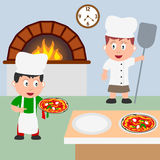 Two Pizza Chefs Cooking Royalty Free Stock Photo
