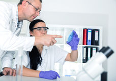 Two scientist  in laboratory. research Stock Photos