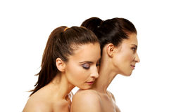 Two sisters with make up. Royalty Free Stock Photography