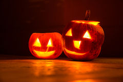 Two smiling halloween pumpkins at night Royalty Free Stock Image