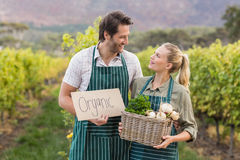 Two young happy farmers holding a sign and a basket of vegetables Royalty Free Stock Images