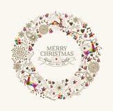Uitstekende de groetkaart van de Kerstmiskroon Royalty-vrije Stock Afbeeldingen