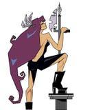 Um guerreiro forte da mulher com uma lança Imagens de Stock Royalty Free