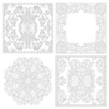 Unique coloring book square page set for adults Royalty Free Stock Photography