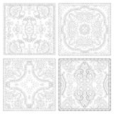 Unique coloring book square page set for adults Royalty Free Stock Images