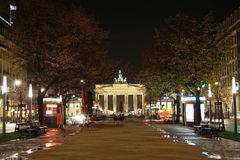 Unter den Linden street in Berlin at night Royalty Free Stock Photo
