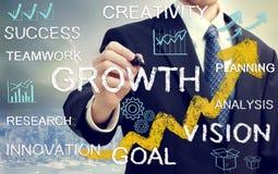 Uomo di affari con i concetti che rappresentano crescita e successo Fotografia Stock