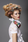 Updo. Dyed Hair. Woman with Modern Hairstyle. High Fashion Royalty Free Stock Image