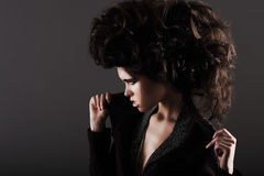 Updo. Eccentric Woman with Styled Curly Hairs Royalty Free Stock Photos