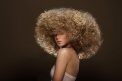 Updo. Vogue Style. Woman with Futuristic Hairdo Stock Images