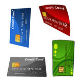 Uppsättning av färgrika krediteringskontokort Arkivbilder