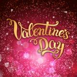 Ursprüngliche Hand, die glücklichen Valentinstag auf hochrotem backgro beschriftet Lizenzfreie Stockfotografie