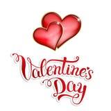 Ursprüngliche Hand, die glücklichen Valentinstag auf weißem Hintergrund beschriftet Lizenzfreies Stockfoto
