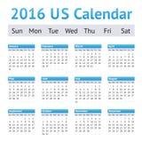 2016 US American English Calendar. Week starts on Sunday Stock Photography