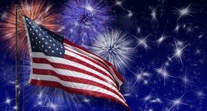 USA Flag Fireworks Royalty Free Stock Photos
