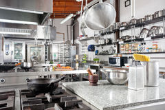 Utensils On Counter In Commercial Kitchen Stock Photo