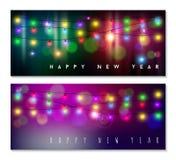 Vacances légères réglées de tache floue de bokeh de bannière de bonne année Photo libre de droits