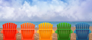 Vacation Beach Chairs on Sand Stock Photos