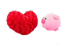 Valentine Heart Made Out of Pillow Roses and Pink Pig Royalty Free Stock Image