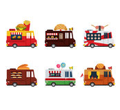 Van with food, meals on wheels, fast food. Flat Royalty Free Stock Photography