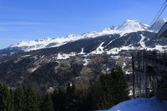 Vancise express, Winter landscape in the ski resort of La Plagne, France Stock Images