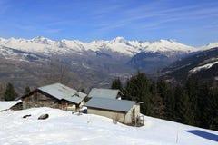 Vancise express, Winter landscape in the ski resort of La Plagne, France Royalty Free Stock Photo