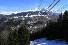 Vancise express, Winter landscape in the ski resort of La Plagne, France Royalty Free Stock Photos