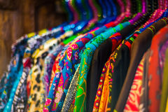 Variety of fashion clothes hanging on rack Royalty Free Stock Photography